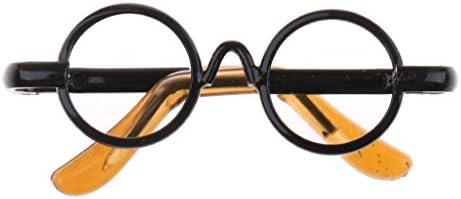 全3色 人形用メガネ アイウェア ラウンドフレーム 1/6 BJD MSD LUTS DODドール用 装飾 アクセサリー - ブラック