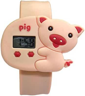 Cartoon Pink Pig Unisex Kids Water-resistant Sports Watch Bendable Rubber Strap Wrist Watch