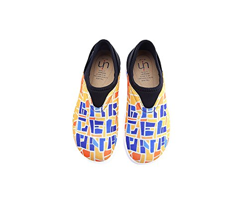 Uin Mujeres Barcelona Code Colorful Mesh Cloth Slip-on Zapatos Amarillo