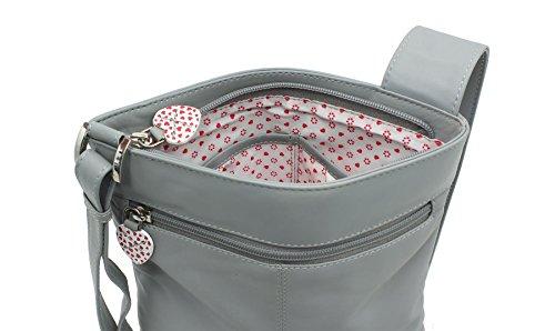 Mala Leather - Bolso cruzados para mujer, gris (Gris) - 731_30 gris