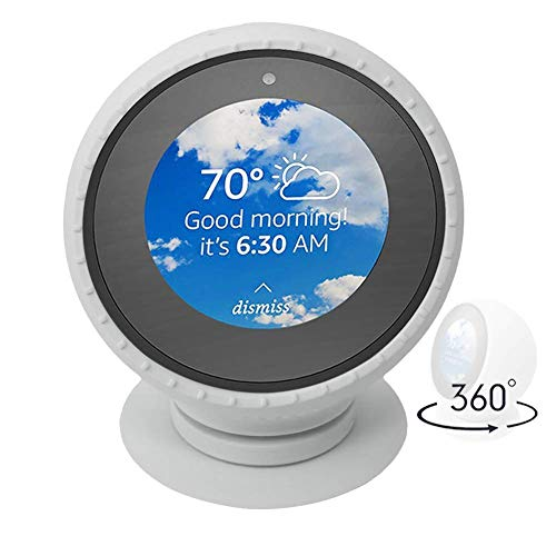 Five Star Online Echo Spot Stand, Silicone Protective Case Cover 360 Degree Rotation Aluminum Stand Adjustable Accessory Mount Bracket Replacement with Strong Precision Bearings for Echo Spot(White)