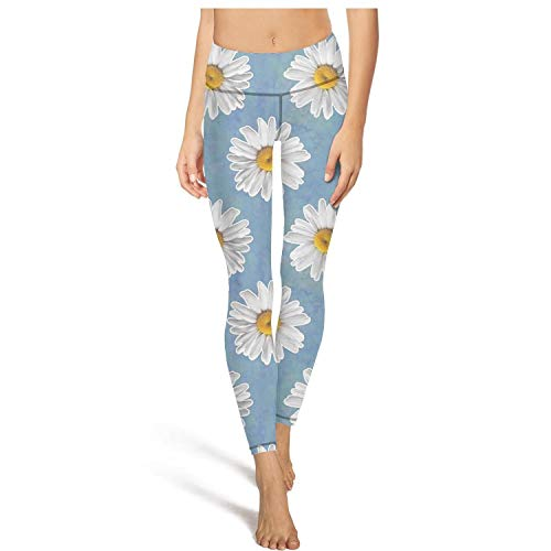 MIENTITE Elastic high Waisted Leggings for Women Outfits Yoga Pants Daisy Repeat Flower Pattern Fitness Legging