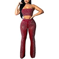 OLUOLIN Women's Sexy Hot Drilling Hollow Out 2 Pieces Outfits See Through Crop Tops and Long Pants Bodycon Jumpsuit Rompers