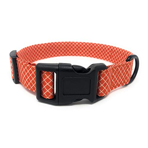 (Regal Dog Products Cool Collar | Designer Custom fit for XS, Small, Medium, Large Dog, Cat, Puppy | Fun Dog Gift Idea | 8 to 12 inches (20 to 30 cm) | Orange Plaid Pattern)