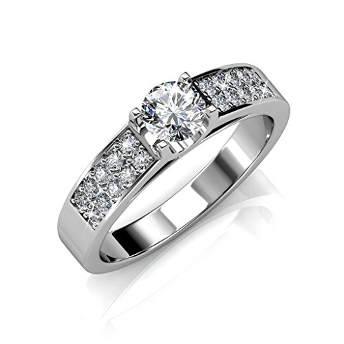 18k White Gold plated brass Ring w/Swarovski Crystals, Trendy Beautiful Sparkling Engagement Ring, Modern Round Cut Swarovski Crystals, Wedding Anniversary Special Occasion Promise (8) ()