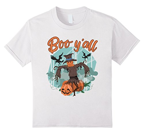 [Kids Boo Y'All T-shirt Scarecrow Halloween Y-all Pumpkin Ya-ll 10 White] (Best Ideas For Halloween Costume 2016)