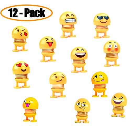 (1 Dozen Cute Emoji Bobble Head Dolls, Funny Smiley Face Springs Dancing Toys for Car Dashboard Ornaments, Party Favors, Gifts, Home Decorations)