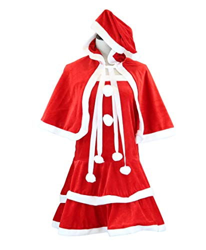 Miss Santa Costume with Hat [ S,M,L,XL ] Christmas Costume (S, Red)