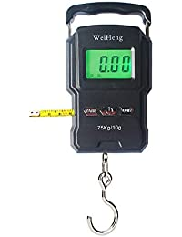 Portable Electronic Hook Scale Digital Hanging Bag Luggage Weight Scale Fishing Scale with Measuring Tape 165Lb Black