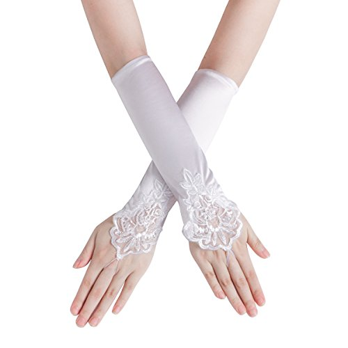Women's Embroidered Fingerless Hook Glove/Bridal Lace & Sequins Satin Gloves For Wedding Evening Party Accessories