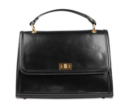 Ital. Echtledertasche in 3 Farben Ledertasche Damen Handtasche T8772 Schwarz CSXwNhK