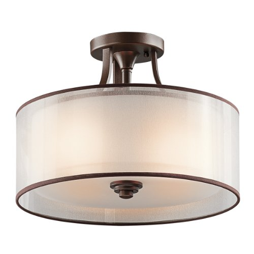 ey Semi-Flush in Mission Bronze, 3-Light (Mission Bronze Ceiling Fixture)