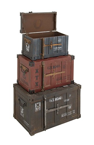 "Deco 79 Wood Trunks (Set of 3), 27""/24""/20"", Multicolor"