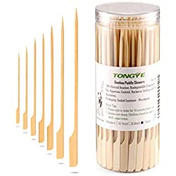Bamboo Paddle Skewers 7 Inch with Clear Cylinder, Premium Cocktail Picks - Barbecue Stick. Decoration for Party Food, Appetizer, Dessert, Fruit, Sausage, Burger, Prawn, Kebab. (200PCS Natural Color)