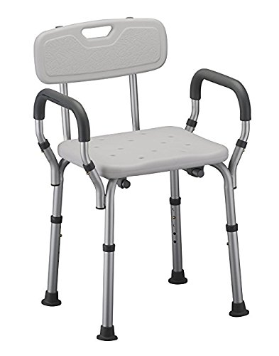 Shower Chair with Arms by Healthline Trading, Adjustable Portable Bath Stool Tub Bench with Safety Seat, Removable Back and Arms, Medical Shower Chair for Elderly, Disabled, White ()