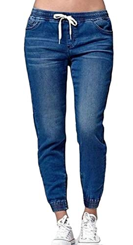 (Macondoo Womens Elastic Waist Washed Sport Stretchy Casual Jogger Denim Pants Dark Blue)