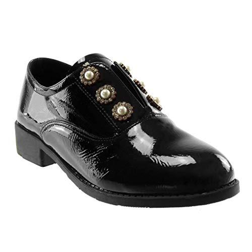 Effet Bloc Verni Strass Chaussure Chic on Derbies Vieilli Perle Femme Slip Diamant Talon Noir Mode CM 3 Angkorly wYq1f6R