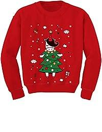 Tstars - Unicorn Xmas Tree Dress Cute Ugly Christmas Toddler/Kids Sweatshirt