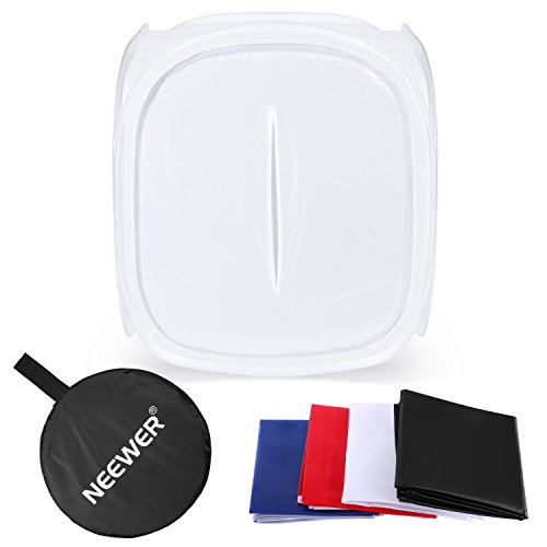 Neewer 12''x12'' inch/30x30 cm Photo Studio Shooting Tent Light Cube Diffusion Soft Box Kit with 4 Colors Backdrops for Photography(Red Dark Blue Black White) Shooting Cube