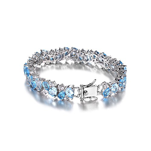JewelryPalace 23.42ct Magnifique Bracelet Femme en Argent Sterling 925 en Topaze Bleu Naturelle