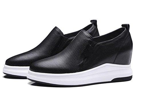 Niedrige Freizeitschuhe faule Schuhe Dameneinzel Frau Frau Aufzug Schuhe Fall zu helfen Black