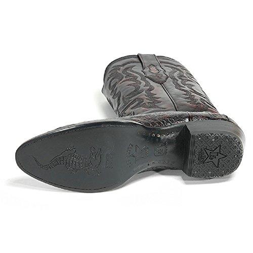 Heren Ronde Neus Echt Leder Kaaiman Buikhuid Westerse Laarzen - Exotische Laarzen Van Zwarte Kersen
