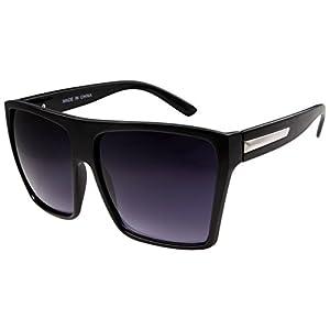Large Retro Style Square Aviator Flat Top Sunglasses Black