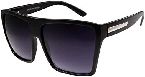 Large Retro Style Square Aviator Flat Top Sunglasses Black, Black, Size One Size