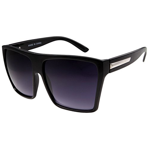 Large Retro Style Square Aviator Flat Top Sunglasses - Shades Black Big