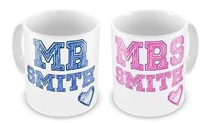 Par de personalizable con diseño de señor y señora tazas