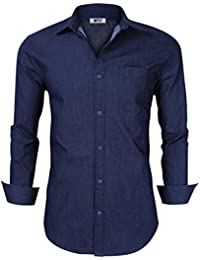 Men's Casual Slim Fit Long Sleeve Button Down Dress Shirts Denim Shirt