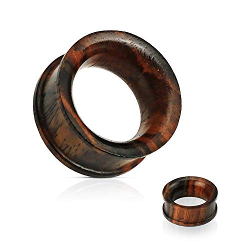 Concave Double Flat Flared Tunnel Organic Sono Wood Plug (3/4