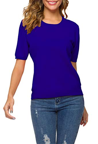 Women's Short Sleeves Cashmere Sweater Tops T Shirt Blouse, Royal Blue, Tag L = US S