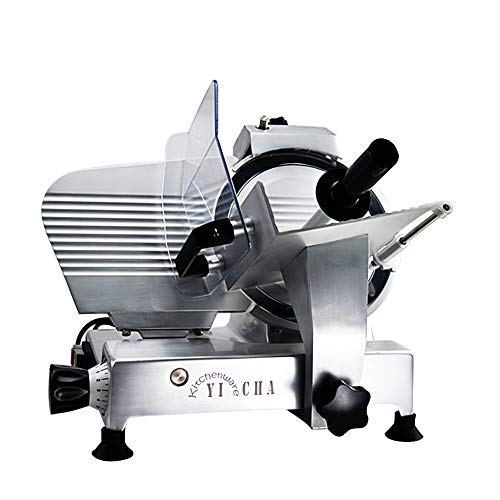 """Auto Slicer - YICHA Kitchenware TDR250C-LT 120-Watt Semi-Auto Electric Meat Slicer 10-Inch Blade for Frozen Meat Deli Meat Cheese Vegetables Features Precision Thickness Control for Commercial use, Sliver (10"""", Silver)"""