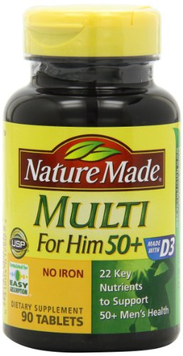 Nature Made Multi for Him 50+ Multiple Vitamin and Mineral Supplement Tablets, 90-Count (Multivitamin Men Nature Made compare prices)