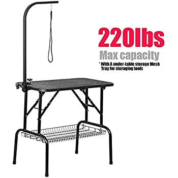 """Yaheetech Professional 32"""" Foldable Pet Grooming Table W/Arm & Noose & Mesh Tray, Maximum Capacity Up to 220lbs"""