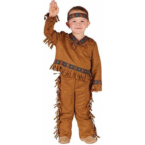 [Fun World Costumes Baby Boy's Native American Toddler Boy Costume, Tan, Small] (Toddler Indian Costumes)