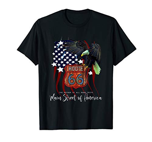 (Distressed USA Flag Eagle Route 66 Main Street of America T-Shirt)