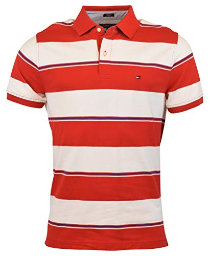 Tommy Hilfiger Mens Stretch Slim Fit Pique (X-Small, Wide Stripes ()