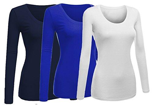 Emmalise Women's Plain Basic Scoop Neck Long Sleeve Tshirt Tee - 3Pk - White, Royal, Navy, M
