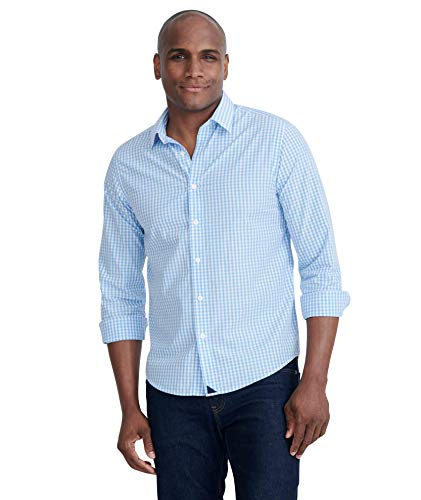 UNTUCKit Carneros - Untucked Shirt for Men Long Sleeve, Light Blue Gingham, Medium Regular Fit (Best Mens Shirts Untucked)