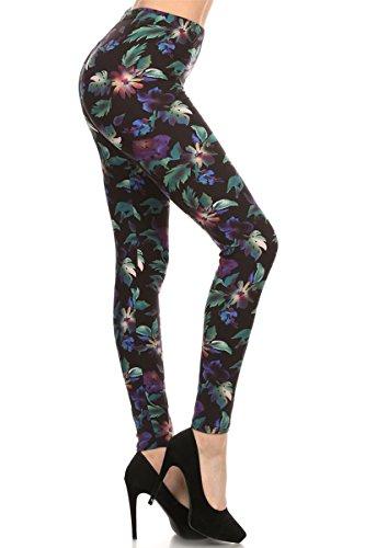 R509-OS Rainforest Flower Print Fashion Leggings
