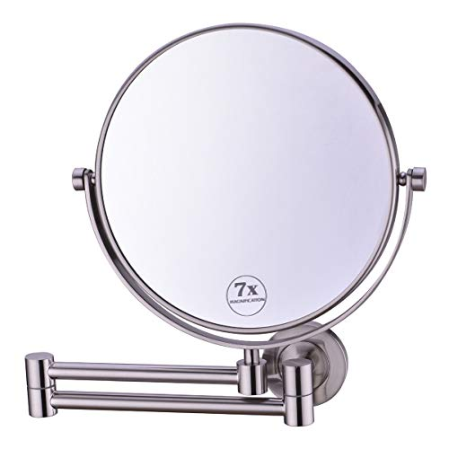 Anpean 8 Inch Double-Sided Swivel Full Brass Wall Mounted Makeup Mirror with 7x Magnification, Brushed -