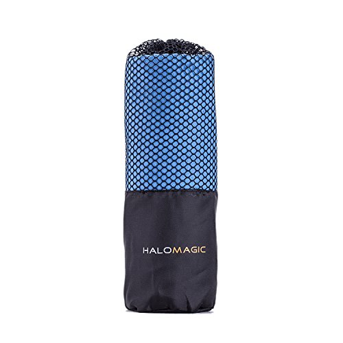 """HaloMagic Microfiber Towel 16""""X 32"""", Drying Fast Towels for Travel, Sports, Camping, Golf, Yoga, Beach and Bath, Highly Absorbent with Mesh Carry Bag"""
