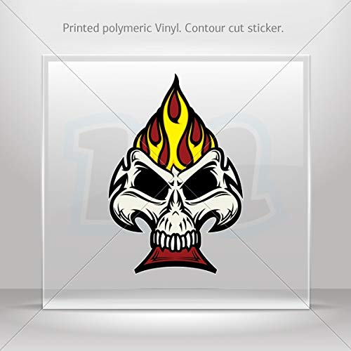 Sticker Decal Ace Poker Skull Decoration Waterproof Racing Vehicle Tab (4 X 2.65 Inches) ()