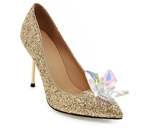 HYLM Hot Cinderella Crystal Chaussures Butterfly Flower Silver Diamond Pointed Talons hauts Fine avec des chaussures de mariage Chaussures de banquet gold