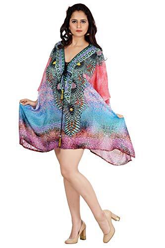 Embellished Kaftan - Silk kaftan New Women Hand Made Lace Up Neck Line Embellished Party Wear Dress Caftan 398