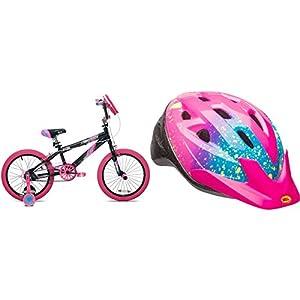 "18"" Girls' Kent Sparkles Bike with Bell Sports Rally Girls Child Helmet, Pink Splatter"