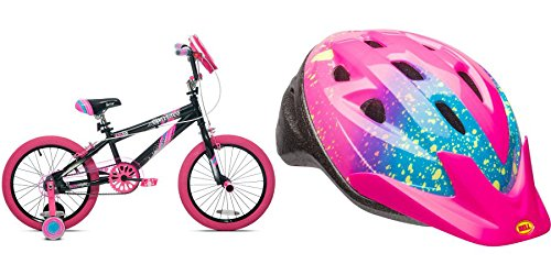 18'' Girls' Kent Sparkles Bike with Bell Sports Rally Girls Child Helmet, Pink Splatter by Kent/Bell Sports