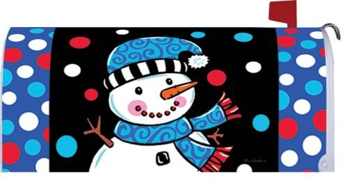 Custom Decor Whimsy Snowman - Mailbox Makeover - Vinyl with Magnetic Strips for Steel Standard Rural Mailbox - MADE IN THE USA - Copyright, Licensed and Trademarked by Inc.
